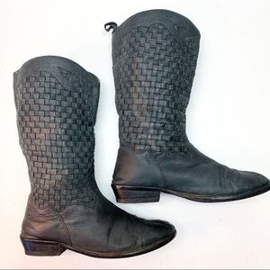 Farylrobin Black Woven Leather Festival Boots